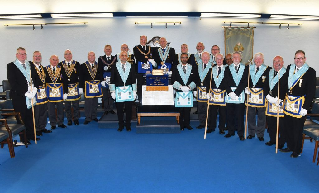 The officers of the Lodge and the Berkshire Provincial Executive present, pose for a photograph in full regalia.